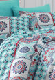 Leunelle Lenjerie de pat albastru cu alb si detalii rosii Femei